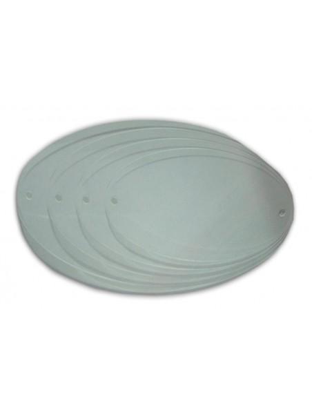 Targa ovale in plexiglass - Spess. 4mm. - 3 fori di fissaggio.